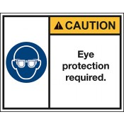 Sicherheitskennzeichen nach ANSI Z535 CAUTION Eye protection required.